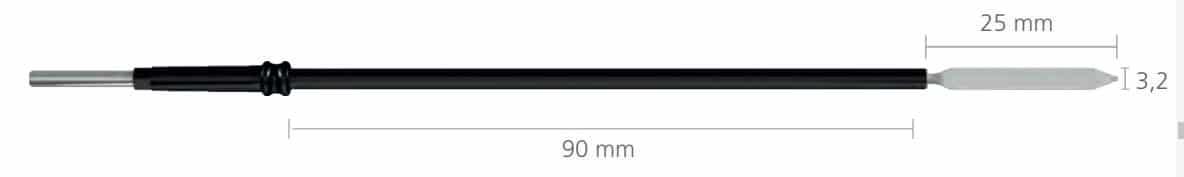 242-0 Nóż prosty 2,4x10mm, dł. 100mm, do uchw. 4mm • Nóż prosty ostry (lancet) długi • Uchwyt: 4 mm • Wymiary: 10 x 2,4 mm