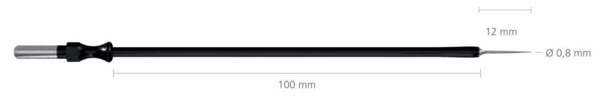 R-241-3 igła 12×0,8 mm, dł 100 mm • Igła prosta, długa • Uchwyt: 4 mm • Średnica końcówki: 0,8 mm