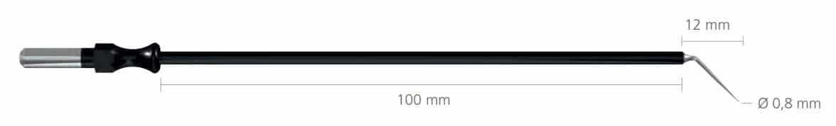 R-241-6 igła wygięta 12×0,8 mm, dł 100 mm • Igła wygięta, długa • Uchwyt: 4 mm