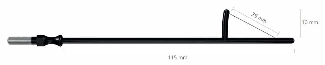 R-262-0 Elektroda konizacyjna 25x15mm, dł. 115 mm, do uchwytu 4mm • Elektroda konizacyjna (żagielek) • Uchwyt: 4 mm • Wymiary: 15 x 25 mm