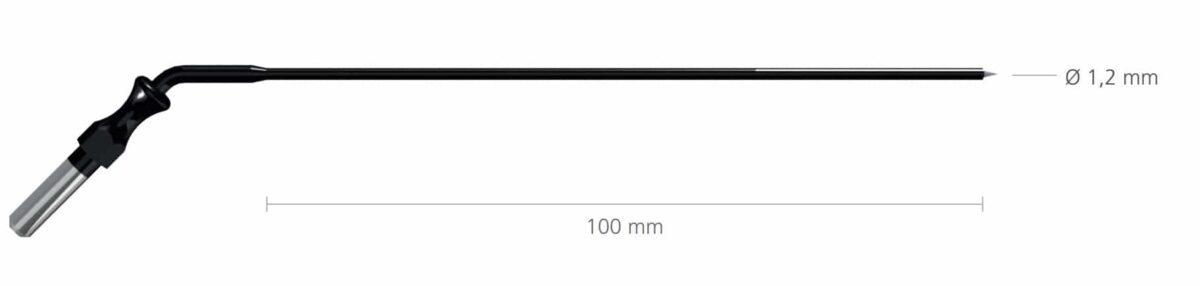 R-270-0 Igła 1,2mm, dł. 100mm do uchwytu 4mm, zagięta • Igła laryngologiczna • Uchwyt: 4 mm